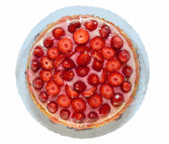 Strawberry tart. On white background stock photos