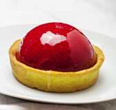 Strawberry tart on white Stock Images