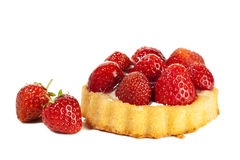 Strawberry Tartlet and berries isolated Royalty Free Stock Images