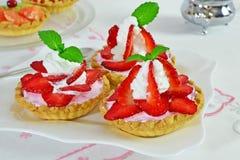 Strawberry tartlets stock photo