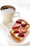 Strawberry tarts with coffee cup Royalty Free Stock Photos