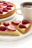 Strawberry tarts with coffee cup Stock Photos