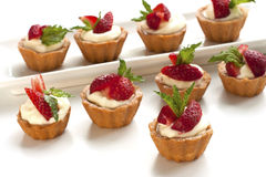 Strawberry tarts with custard Royalty Free Stock Images