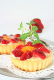 Strawberry tarts with mint Royalty Free Stock Photo