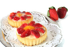 Strawberry tarts with mint Royalty Free Stock Image