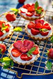 Strawberry Tarts, Small Shortcrust Tarts With The Addition Of Cream Cheese, Fresh Strawberries And Mint On Cooling Tray On A Dark Stock Photo