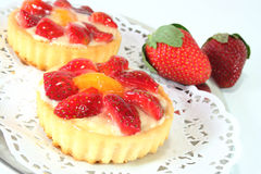 Strawberry tarts with strawberries Royalty Free Stock Image