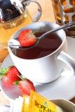Strawberry tea. Serve in hot Stock Image