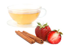 Strawberry with tea Royalty Free Stock Photos