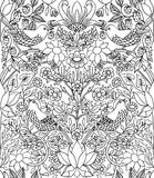 Strawberry thief - hand drawn seamless pattern Royalty Free Stock Images