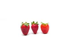 Strawberry. Three strawberries on white background Royalty Free Stock Photos