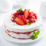 Strawberry tiramisu cake on white background, Royalty Free Stock Image