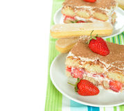 Strawberry tiramisu Royalty Free Stock Images