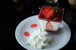 Strawberry tiramisu. Dessert with fresh fruits in glass Royalty Free Stock Image