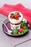 Strawberry tiramisu. With mint in glass Stock Images
