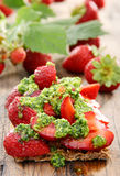 Strawberry toast and fresh strawberries. Stock Photography