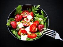 Strawberry tomato salad with feta cheese Royalty Free Stock Photos