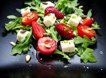 Strawberry tomato salad with feta cheese Royalty Free Stock Photo