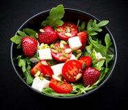 Strawberry tomato salad with feta cheese Stock Photo
