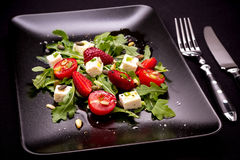 Strawberry, tomato salad with feta cheese Stock Photography