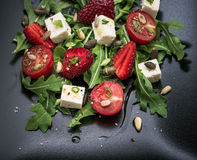 Strawberry tomato salad with feta cheese Royalty Free Stock Photography