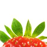 Strawberry topping. Red strawberry with green leaves Royalty Free Stock Image