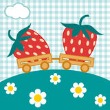 Strawberry train. Strawberry is in trailers. Cloud and flowers Royalty Free Stock Photography