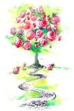 Strawberry tree. Painting of  path to sweet tasty dessert Stock Photos
