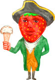 Strawberry Tricorn Hat Ice Cream Victorian Gentleman Watercolor Royalty Free Stock Image