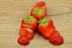 Strawberry trio cut Stock Images