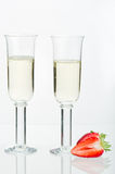 Strawberry and two sparkling glass Stock Photos