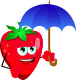 Strawberry with umbrella Royalty Free Stock Images