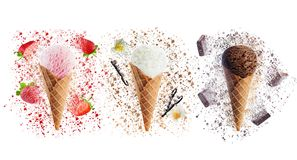Strawberry, Vanilla and chocolate ice creams isolated stock images