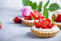 Strawberry vanilla cream cheese tarts over light gray table Royalty Free Stock Photography