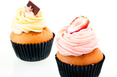 Strawberry and vanilla cup cake close up Royalty Free Stock Photos