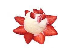 Strawberry and vanilla ice cream Stock Photos