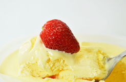 Strawberry on vanilla ice cream flavor Royalty Free Stock Photography