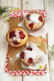 Strawberry and vanilla muffins Royalty Free Stock Photo