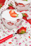 Strawberry Vanilla Panna Cotta Stock Photography