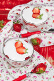 Strawberry Vanilla Panna Cotta Stock Photo