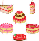 Strawberry and Vanillia Cakes. A selection of strawberry and vanilla cakes and cake slices Stock Photo