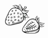 Strawberry vector black. Pictogram isolated on white Stock Photos