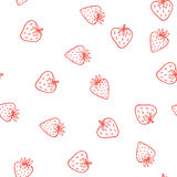 Strawberry vector seamless pattern. Cute tasty. Berry design for fabric print, wrapping paper, kid clothes, jam label. Monochrome red on white sweet fruit Royalty Free Stock Photos