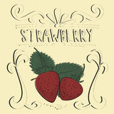 Strawberry vintage poster. Strawberry vintage retro poster design, vector illustration Royalty Free Stock Photography