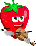 Strawberry with violin Royalty Free Stock Photo
