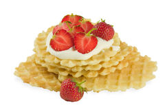 Strawberry on wafer with cream Royalty Free Stock Photo