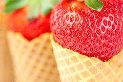 Strawberry in a waffle cone Stock Photos