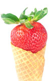 Strawberry in a waffle cone Stock Photo