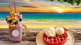 Strawberry waffle flavor served in a wooden tray. Strawberry waffle flavor served in a wooden tray royalty free stock photo