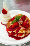 Strawberry Waffle with Ice-cream Royalty Free Stock Images